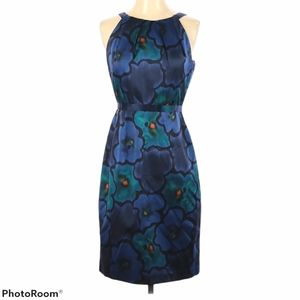 ELIE TAHARI Blue Floral Print Silk Dress